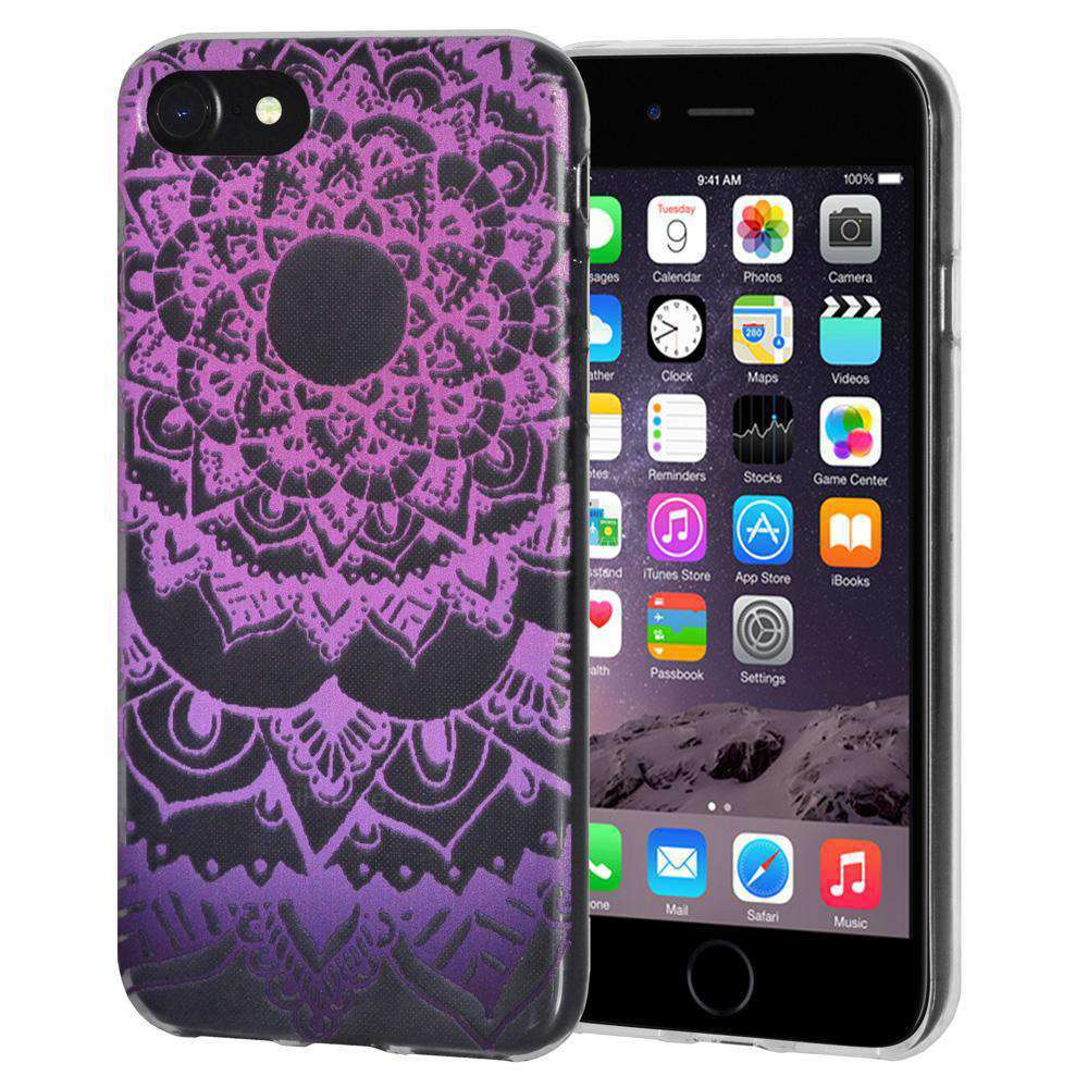 Soft Gel TPU Soft Skin Case Mandala Purple Zen for iPhone 6 - Clear - fommystore