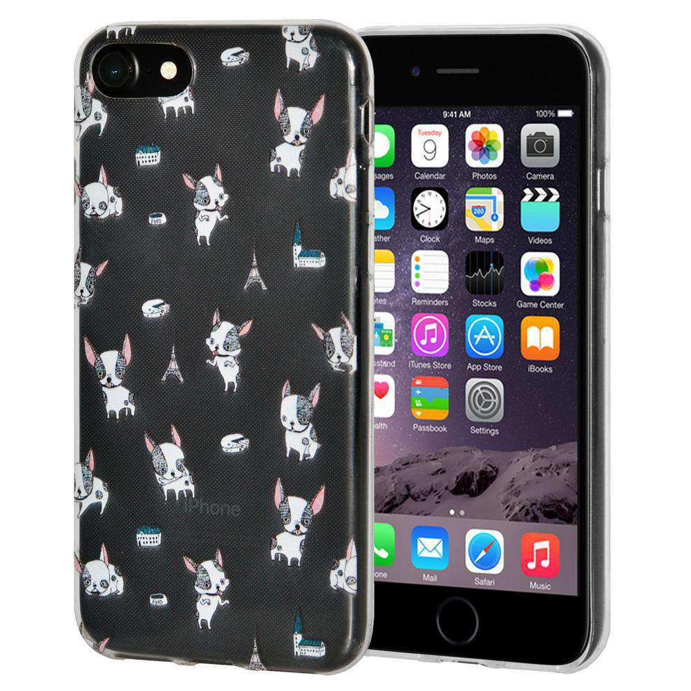 Soft Gel TPU Soft Skin Case Modern Puppy Print for iPhone 6 - Clear - fommystore