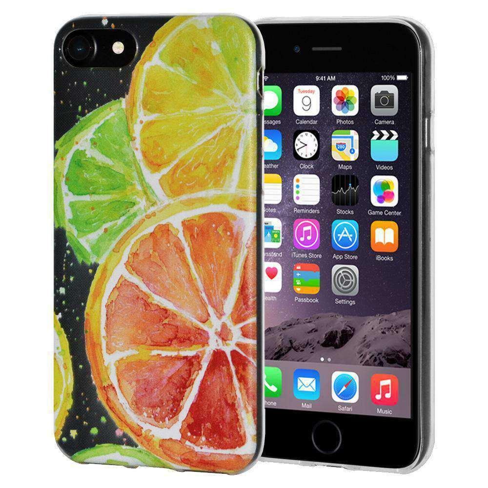 Soft Gel TPU Soft Skin Case Citrus Print for iPhone 6 Plus - Clear - fommystore