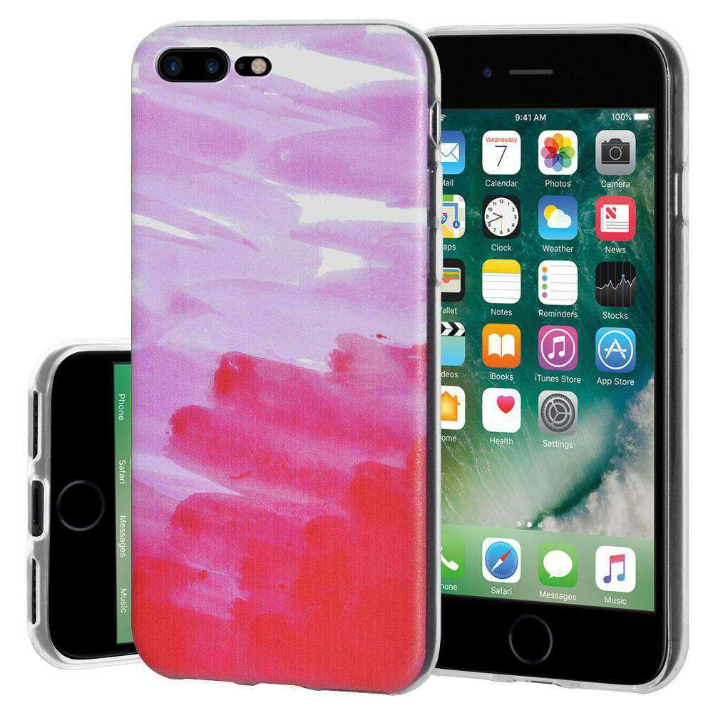 Ultra Thin Protective Cover Soft Shockproof TPU Skin Case Abstract Pink for iPhone 7 Plus - Clear - fommystore