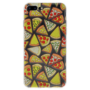 Soft Gel TPU Soft Skin Case Pizza Print for iPhone 7 Plus - Clear - fommystore