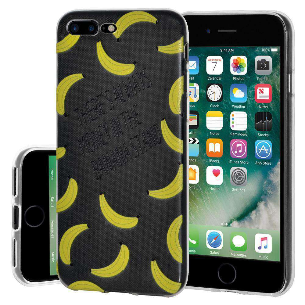 Soft Gel TPU Soft Skin Case Banana Print for iPhone 7 Plus - Clear - fommystore