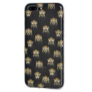 Protective Cover Soft Shockproof TPU Case See Hear Speak No Evil Monkeys for iPhone 7 Plus - Clear - fommystore