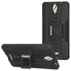 AMZER Hybrid Cover Warrior Case With Kickstand for Coolpad Mega - Black/Black - fommystore