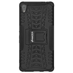 AMZER Hybrid Shockproof Warrior Case for Sony Xperia XA Ultra - Black/Black - fommystore