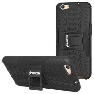 AMZER Hybrid Shockproof Cover Warrior Case for OPPO F1s - Black/Black