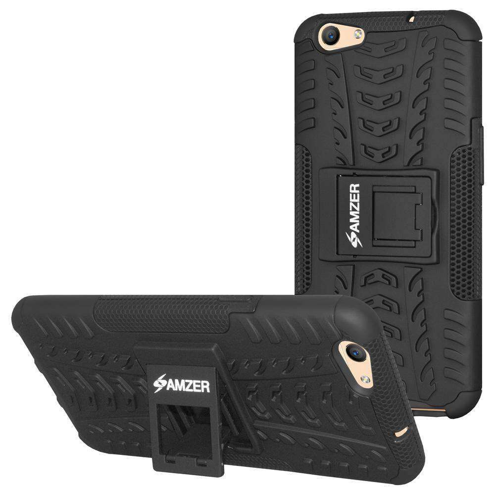 AMZER Hybrid Shockproof Cover Warrior Case for OPPO F1s - Black/Black - fommystore