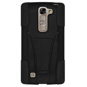AMZER Double Layer Hybrid KickStand Case for LG Magna H502F - Black/ Black - fommystore