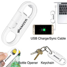 Load image into Gallery viewer, Amzer® Charge and Sync MicroUSB Cable / Bottle Opener - White - fommystore