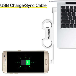 Amzer® Charge and Sync MicroUSB Cable / Bottle Opener - White - fommystore