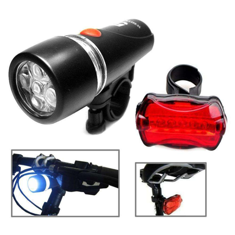 Waterproof 5LED Lamp Bike Bicycle Front Head Light and Rear Safety Flashlight