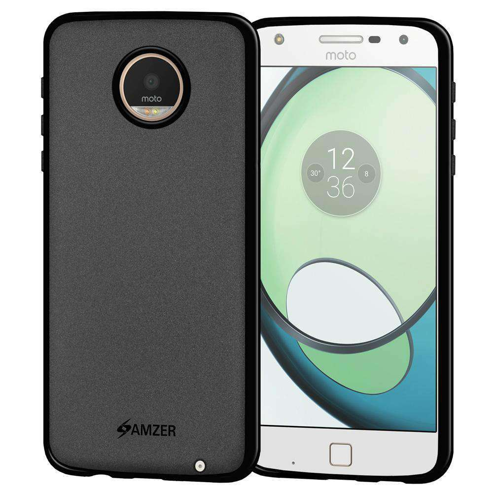 AMZER Pudding Soft TPU Skin Case for Motorola Moto Z Play - Black - fommystore