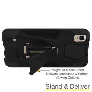 AMZER Dual Layer Hybrid KickStand Case for LG Tribute HD - Black/Black - fommystore