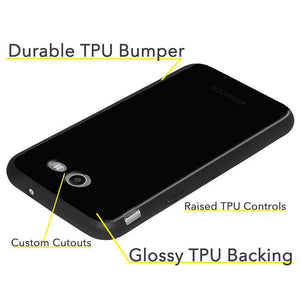 AMZER Soft Gel Pudding TPU Skin Case for Samsung Galaxy Amp Prime 2 - Black - fommystore
