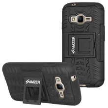 Load image into Gallery viewer, AMZER Hybrid Warrior Case for Samsung Galaxy J1 Mini Prime 2016 - Black/Black - fommystore