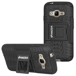AMZER Hybrid Warrior Kickstand Case for Samsung Galaxy J1 Mini Prime 2016 - Black/Black - fommystore