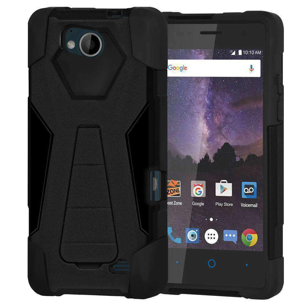AMZER Dual Layer Hybrid KickStand Case for ZTE Tempo - Black/Black - fommystore