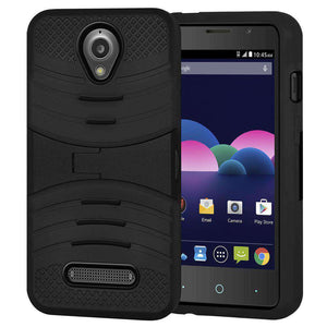 Hybrid Dual Layer Kickstand Case for ZTE Obsidian - Black/Black - fommystore