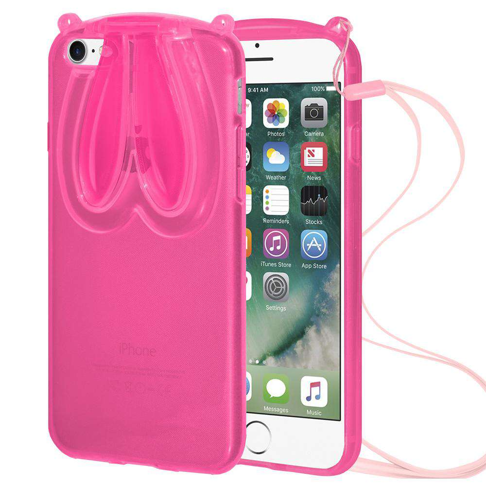 AMZER TPU Skin Case With Rabbit Ears for iPhone 7 - Pink - fommystore