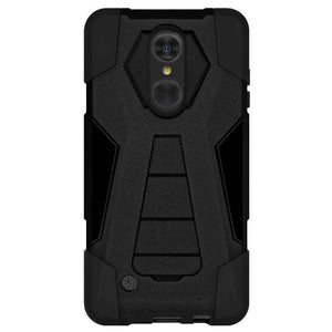 AMZER Dual Layer Hybrid KickStand Case for LG Aristo MS210 - Black/ Black - fommystore