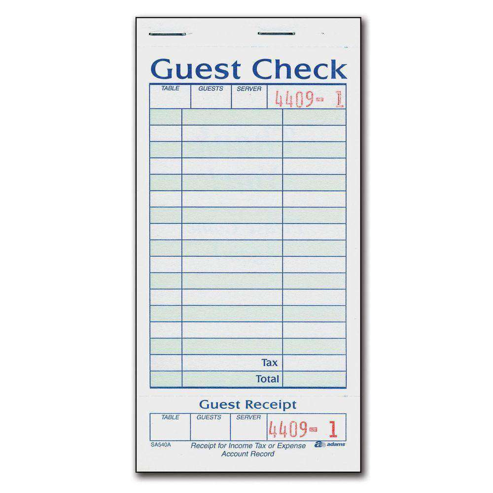 Adams 1-Part Guest Check with Stub - 50 Checks/book - 20 pk. - fommystore