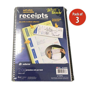 Write n Stick Receipt Books - 200 Count - Pack of 3 - fommystore