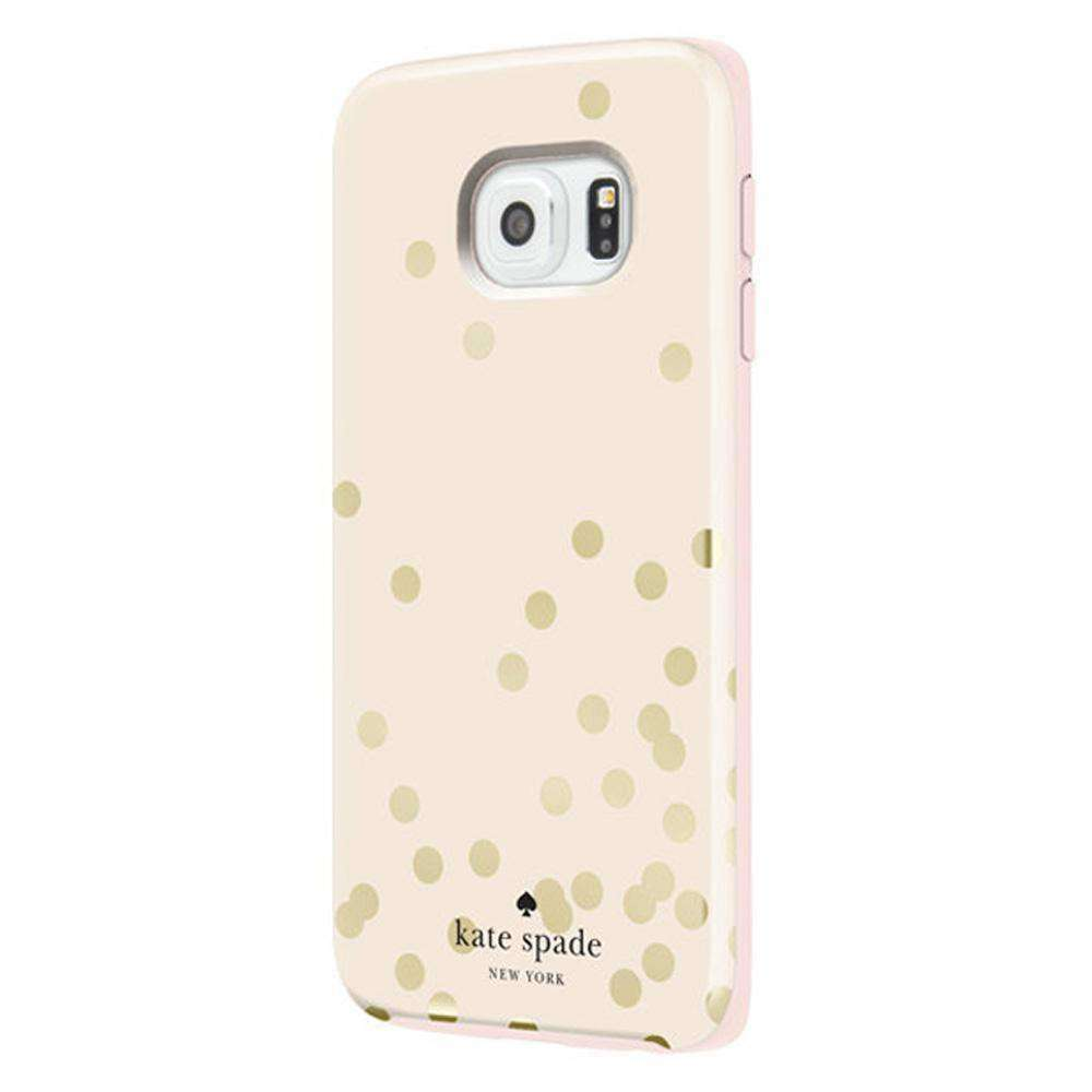 Kate Spade Hybrid Hardshell Case - White with Polka Dots for Samsung Galaxy S6 edge SM-G925F - fommystore
