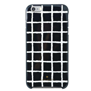 Kate Spade Painterly Hybrid Shell Case - Check Black/Cream for iPhone 6 Plus - fommystore