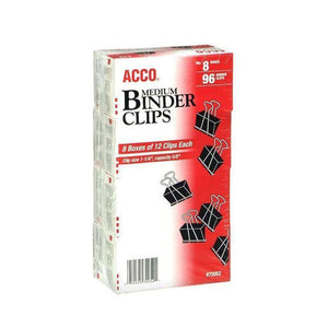 ACCO Medium Size Binder Clips - 1 p1/4 Inch Width 5/8 Inch Capacity - 12 per Box - 8 Boxes (96 Total for Asus ZenFone 5 ZE620KL - fommystore