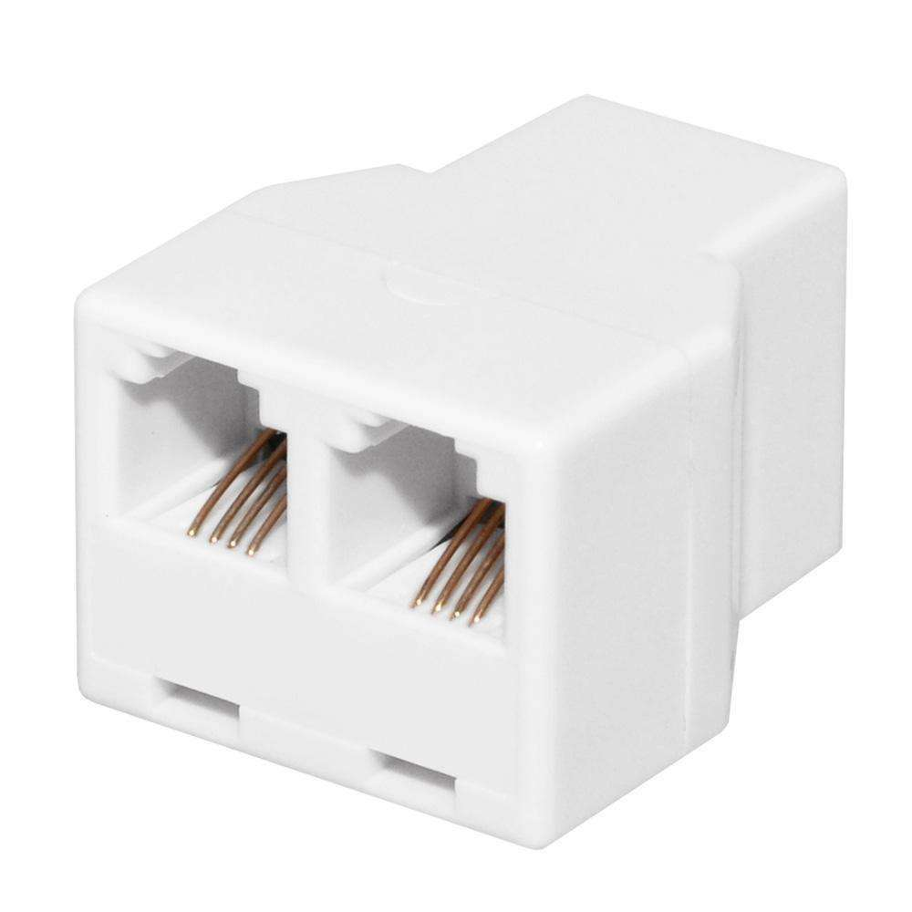 GE Duplex In-Line Adaptor Splits Single Phone Line to Two - White - fommystore