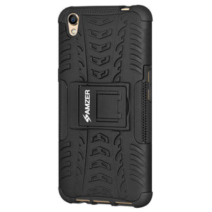 AMZER Shockproof Warrior Hybrid Case for Oppo A37 - Black/Black - fommystore