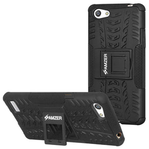 AMZER Shockproof Warrior Hybrid Case for OPPO A33 - Black/Black - fommystore