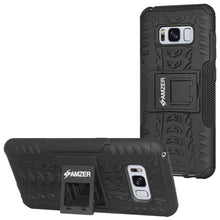 Load image into Gallery viewer, AMZER Hybrid Warrior Kickstand Case for Samsung Galaxy S8 - Black/Black - fommystore