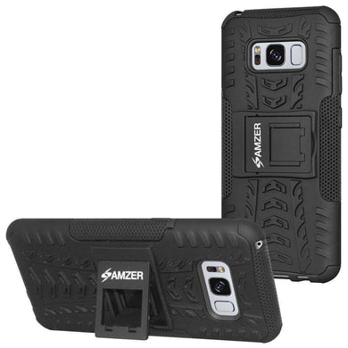 AMZER Hybrid Warrior Case for Samsung Galaxy S8 - Black/Black - fommystore