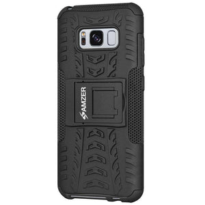 AMZER Hybrid Warrior Kickstand Case for Samsung Galaxy S8 - Black/Black - fommystore