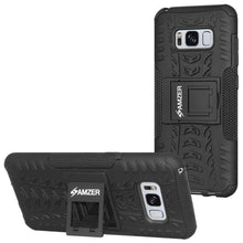 Load image into Gallery viewer, AMZER Shockproof Warrior Hybrid Case for Samsung Galaxy S8 Plus - Black/Black - fommystore