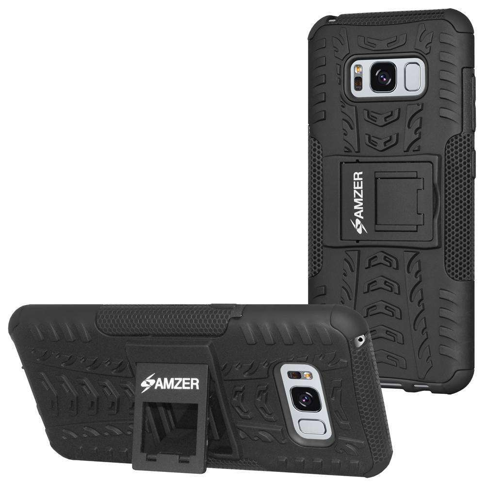 AMZER Shockproof Warrior Hybrid Case for Samsung Galaxy S8 Plus - Black/Black - fommystore