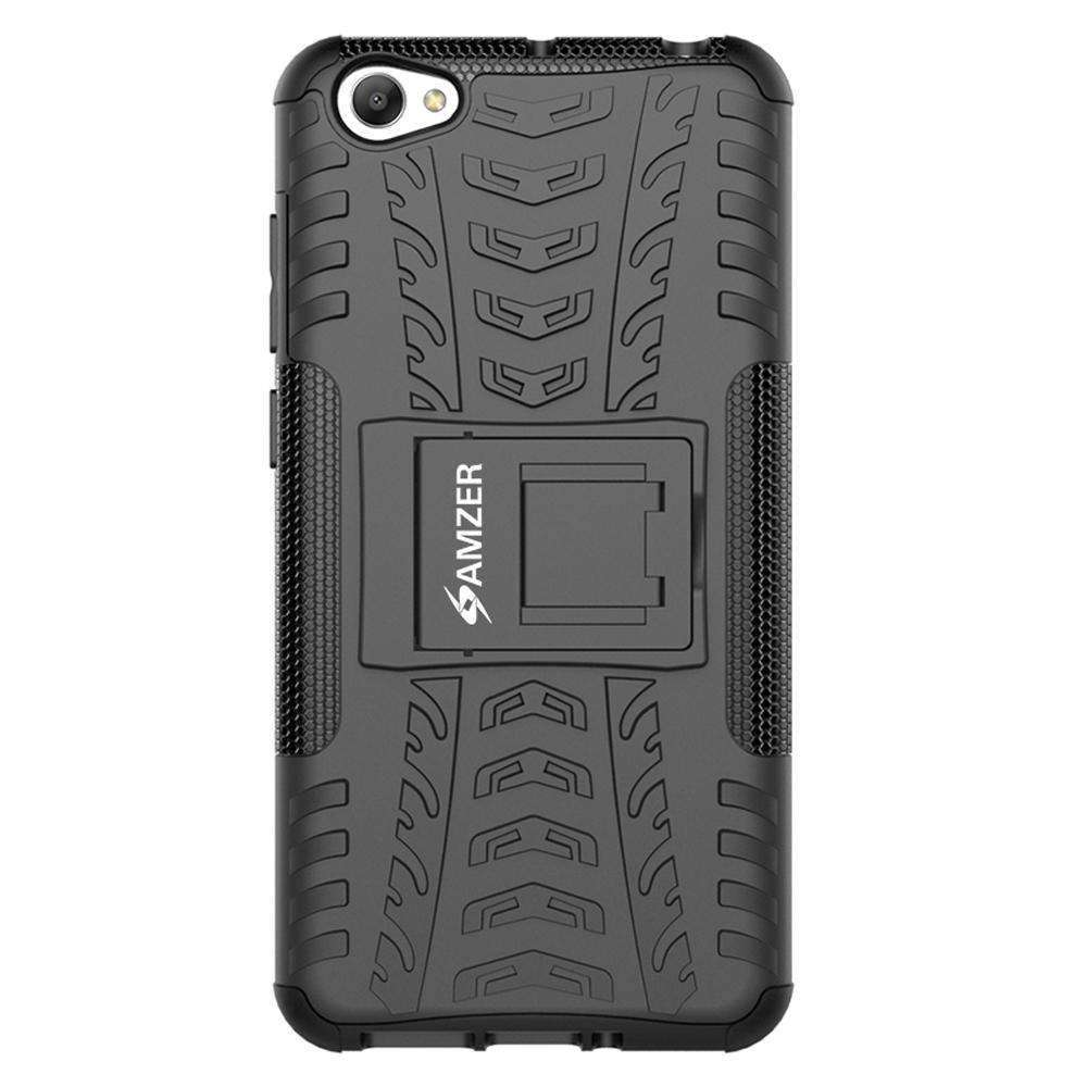 AMZER Shockproof Warrior Hybrid Case for Vivo Y55 - Black/Black - fommystore