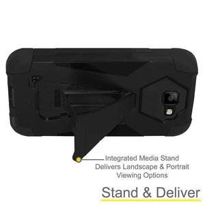 AMZER Dual Layer Hybrid KickStand Case for LG K3 - Black/Black - fommystore