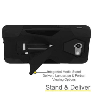 AMZER Dual Layer Hybrid KickStand Case for Samsung Galaxy Halo - Black/Black - fommystore
