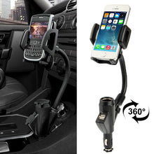 Load image into Gallery viewer, Universal Dual USB Car Charger Adapter & Cell Phone Mount Holder - Black