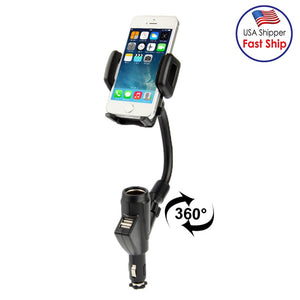 Universal Dual USB Car Charger Adapter & Cell Phone Mount Holder - Black