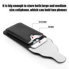 Load image into Gallery viewer, Universal Vertical Dual Phone Holder Leather Pouch - Black - fommystore