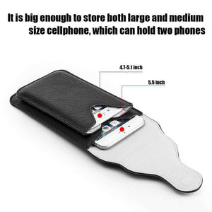 Universal Vertical Dual Phone Holder Leather Pouch - Black - fommystore