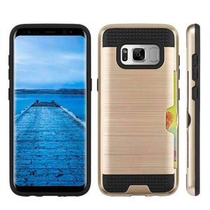 Hybrid Go Case with Credit Card Holder Slot - Black/ Gold for Samsung Galaxy S8 - fommystore
