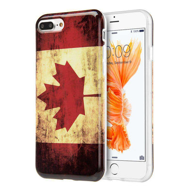 Patriotic Vintage Flag Series IMD Soft TPU Protective Case for iPhone 7 Plus - Canada Flag - fommystore