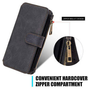 Flip Case With Zipper Wallet Detachable Case for Samsung Galaxy S8 Plus - Black - fommystore
