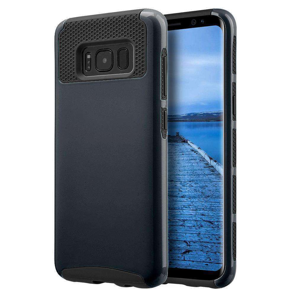 Hybrid Glossimer UV Coating Protective Case - Black for Samsung Galaxy S8 for Samsung Galaxy S8 - fommystore