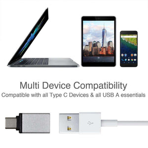 USB Type C to USB Type A Adapter - Silver - fommystore