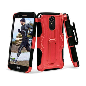 Heavy Duty Shockproof Extreme Protective Cover With Holster - Black/ Red for LG Stylus 3/ LG Stylo 3 for LG K10 Pro LGM400DF - fommystore